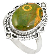 Natural multicolor ocean sea jasper (madagascar) 925 silver ring size 7.5 d26031