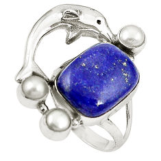 Clearance Sale- 925 silver natural blue lapis lazuli white pearl dolphin ring size 7 d26088