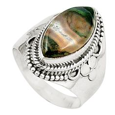 Natural green moss agate 925 sterling silver ring jewelry size 6.5 d26090