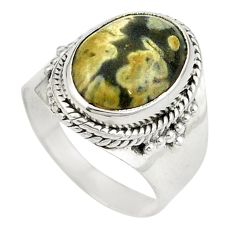 Clearance Sale- 925 silver natural multicolor ocean sea jasper (madagascar) ring size 6.5 d26186