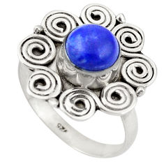 Clearance Sale- Natural blue lapis lazuli 925 sterling silver ring jewelry size 8.5 d26368