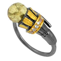 Natural yellow citrine topaz 925 silver adjustable ring jewelry size 9 d26560
