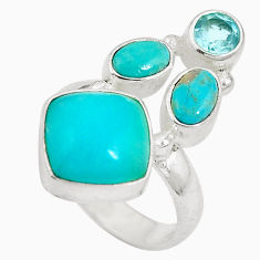 Clearance Sale- Natural green amazonite (hope stone) 925 silver ring size 6.5 d27142
