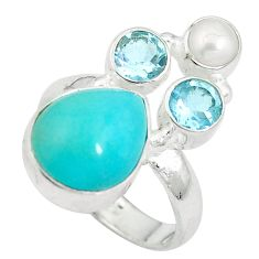 Clearance Sale- Natural green amazonite (hope stone) 925 silver ring size 6.5 d27143