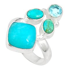 Clearance Sale- 925 silver natural green amazonite (hope stone) topaz ring size 7.5 d27144