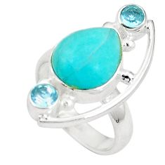 Clearance Sale- Natural green amazonite (hope stone) 925 silver ring jewelry size 6.5 d27145