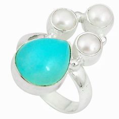 Clearance Sale- Natural green amazonite (hope stone) white pearl 925 silver ring size 6 d27149