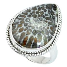 Natural black stingray coral from alaska 925 silver ring size 6.5 d27182
