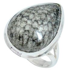 Clearance Sale- 925 silver natural black stingray coral from alaska pear ring size 7.5 d27194