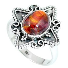 Natural brown pietersite (african) 925 silver ring jewelry size 7.5 d27203