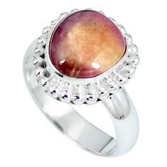 Natural pink bio tourmaline 925 sterling silver ring size 6.5 d27213