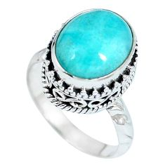 Clearance Sale- Natural green peruvian amazonite 925 sterling silver ring size 7 d27222