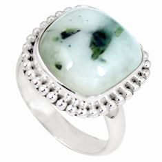 Clearance Sale- Natural green tourmaline in quartz 925 silver ring size 8.5 d27227