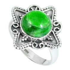 Clearance Sale- Natural green chrome diopside 925 sterling silver ring size 7.5 d27235