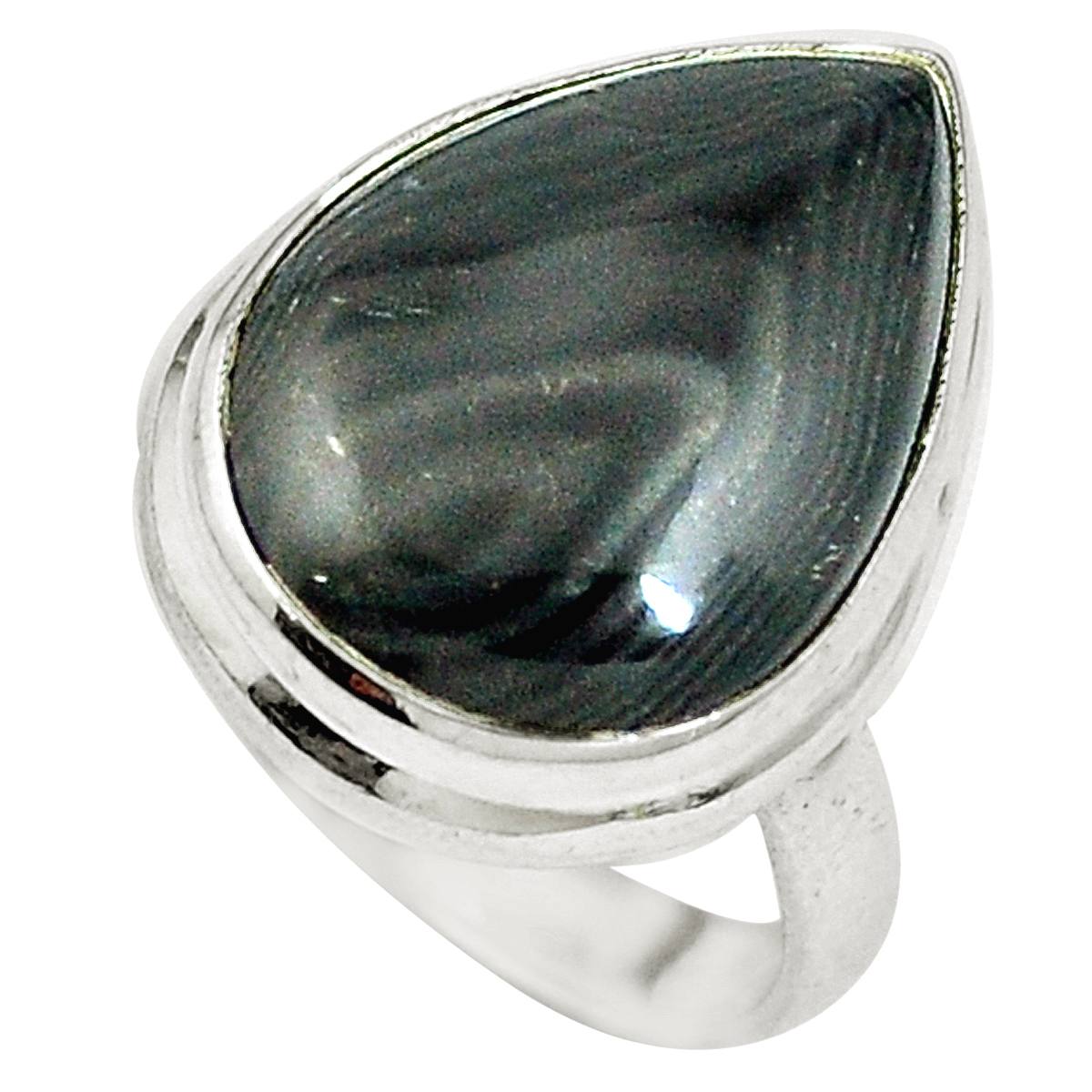 Natural Crown of Silver Psilomelane Handcrafted Jewelry Solid 925 Sterling Silver Ring Size 11