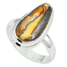 Clearance Sale- Natural yellow schalenblende polen 925 silver ring size 7.5 d27248