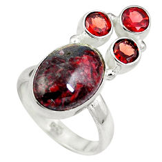 Clearance Sale- Natural black pietersite (african) red garnet 925 silver ring size 7 d27251