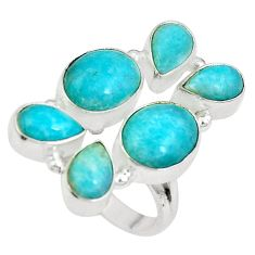 Clearance Sale- Natural green peruvian amazonite 925 sterling silver ring size 7 d27252