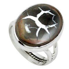 Natural black septarian gonads 925 sterling silver ring size 8.5 d27263