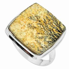 Natural multi color germany psilomelane dendrite 925 silver ring size 9.5 d27267