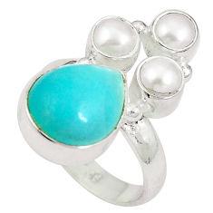 Natural green peruvian amazonite pearl 925 silver ring size 6.5 d27271