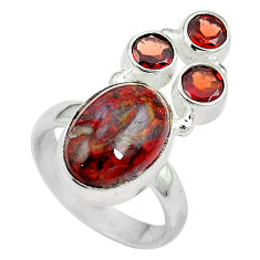 Clearance Sale- Natural brown pietersite (african) garnet 925 silver ring size 7 d27275