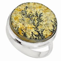 Natural multi color germany psilomelane dendrite 925 silver ring size 8.5 d27278