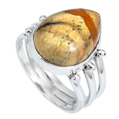 Natural brown picture jasper pear 925 sterling silver ring size 8.5 d27288