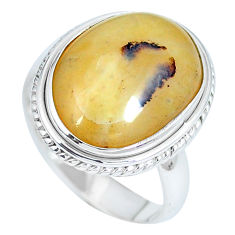 Clearance Sale- Natural yellow opal 925 sterling silver ring jewelry size 9 d27293
