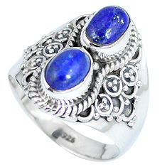 Clearance Sale- 925 sterling silver natural blue lapis lazuli oval ring jewelry size 7 d27300