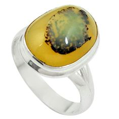 Clearance Sale- Natural yellow opal 925 sterling silver ring jewelry size 8.5 d27356