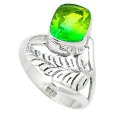 Green tourmaline (lab) 925 sterling silver ring jewelry size 7 d27402