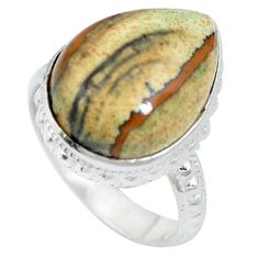 925 sterling silver natural brown picture jasper pear ring size 6.5 d27416