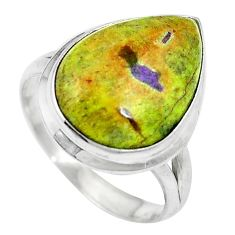 Green atlantisite (tasmanite) stichtite-serpentine 925 silver ring size 9 d27424