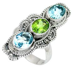 Natural green peridot topaz 925 sterling silver ring size 6.5 d27430