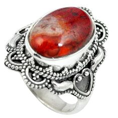925 silver natural brown moroccan seam agate ring jewelry size 6.5 d27440