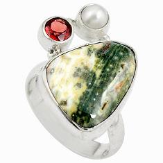 Natural green ocean sea jasper (madagascar) 925 silver ring size 8 d27446