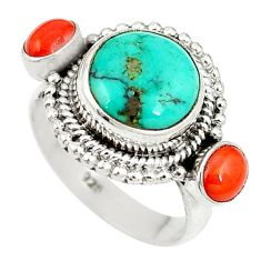 Clearance Sale- Natural green turquoise tibetan coral 925 silver ring size 6 d27448
