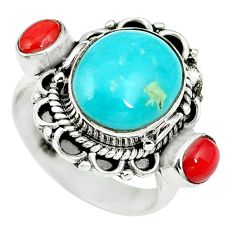Natural green turquoise tibetan coral 925 silver ring size 5 d27450