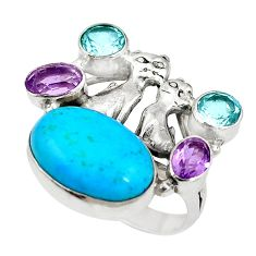 Blue arizona mohave turquoise 925 silver two cats ring size 8.5 d27455