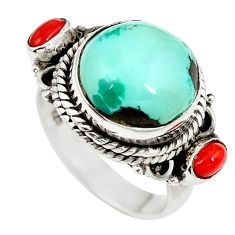 Clearance Sale- Natural green turquoise tibetan coral 925 silver ring size 6 d27456