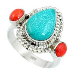 Clearance Sale- Natural green turquoise tibetan red coral 925 silver ring size 7 d27465
