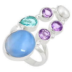 Clearance Sale- Natural blue owyhee opal amethyst 925 silver ring jewelry size 8 d27483