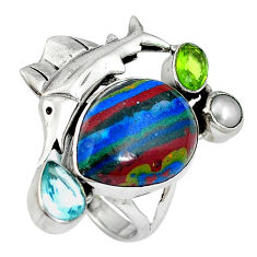 Natural multi color rainbow calsilica 925 silver ring size 5.5 d27487