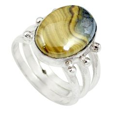 Natural yellow schalenblende polen 925 silver ring jewelry size 5.5 d27509