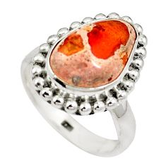 Natural multi color mexican fire opal 925 silver ring jewelry size 6.5 d27510