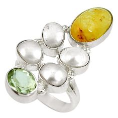 Clearance Sale- Natural golden tourmaline rutile 925 sterling silver ring size 6.5 d27514
