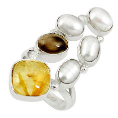 925 silver natural golden tourmaline rutile pearl ring size 7 d27519
