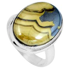 Clearance Sale- Natural yellow schalenblende polen 925 silver ring size 5.5 d27981
