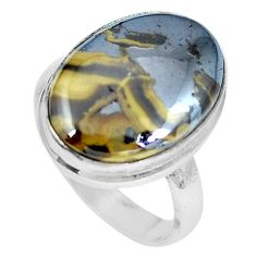 925 sterling silver natural yellow schalenblende polen ring size 8 d27984